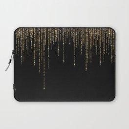Luxury Chic Black Gold Sparkly Glitter Fringe Laptop Sleeve