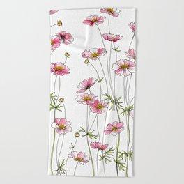 Pink Cosmos Flowers Beach Towel