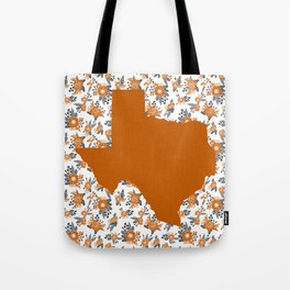 Texan texas longhorns orange and white university college football floral Tote Bag