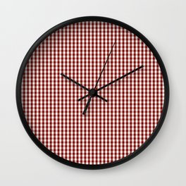 Vintage New England Shaker Dark Barn Red Milk Paint Gingham Check Plaid Wall Clock