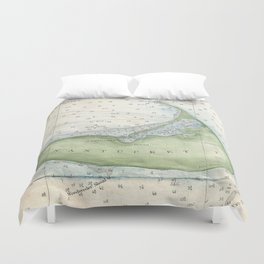 Vintage Map of Nantucket (1857) Duvet Cover