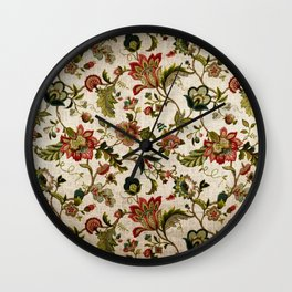 Red Green Jacobean Floral Embroidery Pattern Wall Clock
