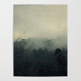 moody fog mountain Poster
