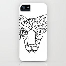 Bighorn Sheep Ram Mosaic Black and White iPhone Case