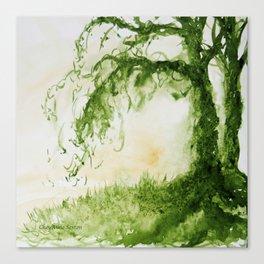 Green Sap Green WaterColour Tree by CheyAnne Sexton Canvas Print