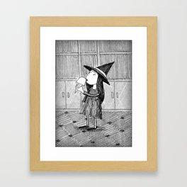 Little Witch Eating Ice Cream Framed Art Print