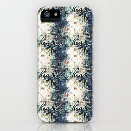 Happy Love Heart Family Pattern Blue Pastel Abstract iPhone Case