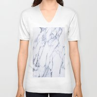 white marble V-neck T-shirts featuring White Marble by Ricardo Lopez