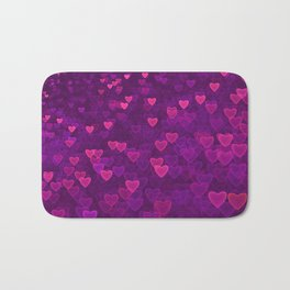 Abstract Pink Ultra Violet Love Heart Pattern | St Valentines day Bath Mat