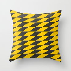 Slanted Checkers Black & Yellow Throw Pillow