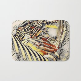 1177s-AK Erotica in the Style of Kandinsky Fingers on Pubis Striped Nude Bath Mat