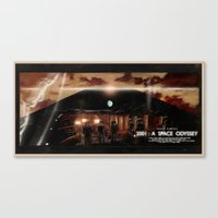 2001 a space odyssey Canvas Prints featuring 2001: A Space Odyssey by Juan Hugo Martinez Illustrations