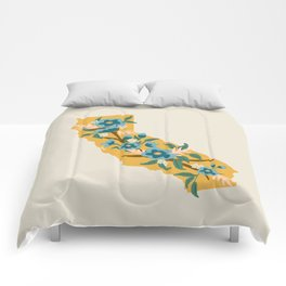 The Golden State of Flowers Comforters