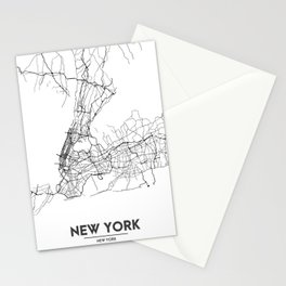Minimal City Maps - Map Of New York, United States Stationery Cards