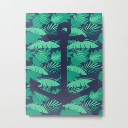 Anchor Palm Leaf Photo Edit Metal Print