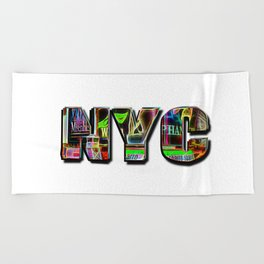 NYC (typography) Beach Towel