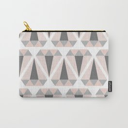 Geometric Diamond in Pink and Gray Carry-All Pouch