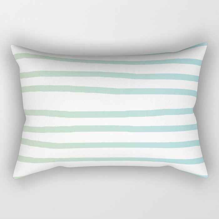 Simply Drawn Stripes in Turquoise Green Blue Gradient on White Rectangular Pillow