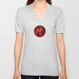 Yin Yang Dragons Red and Black Unisex V-Neck