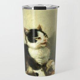 cute kitten 1- Julius Adam - the little patient -1885- pet,whikers,cat,kitty,kitten Travel Mug