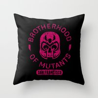 xmen Throw Pillows featuring Bad Boy Club: Brotherhood of Mutants  by Josh Ln