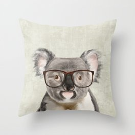 A baby koala with glasses on a rustic background Throw Pillow