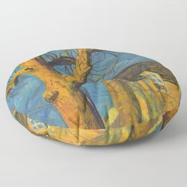 Yellow House Old Tree Landscape Normandy France, Pastel Painting Floor Pillow
