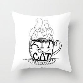 Kittea Cat - Tea Lover - Cat Lover - Mug Cup Lettering - Line Art Throw Pillow