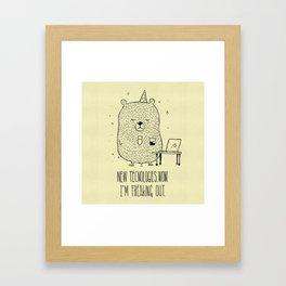 Unemotional Bear vs. Tech Framed Art Print