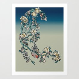 Bullfinch and Pugging Cherry Art Print