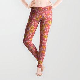 Pink Vines and Flowers Pattern Leggings