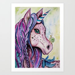 Pink Unicorn - Watercolor/inks by: Dominique Lacroix Art Print