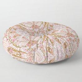 Orange Pink Leaf Flower Paisley Floor Pillow