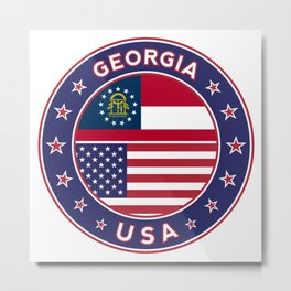 Georgia, Georgia t-shirt, Georgia sticker, circle, Georgia flag, white bg Metal Print