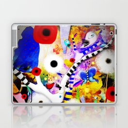 Since you are here - Striped Tree Black and white - Rainbow Abstract Art Laptop & iPad Skin