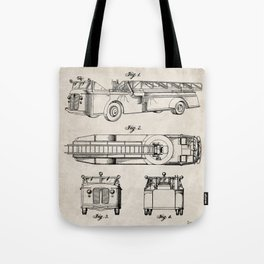 Fire Truck Patent - Aerial Fireman Truck Art - Antique Tote Bag