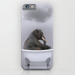 elephant relaxing in the bath iPhone Case