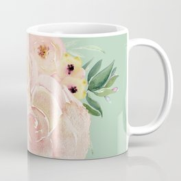 Wild Roses on Pastel Cactus Green Coffee Mug