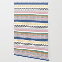 Mixed Pattern Stripe Print Color Blocking Wallpaper