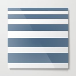 Gradient Stripe in Blue and White Minimalist Pattern Metal Print