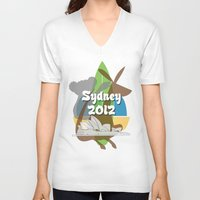 sydney V-neck T-shirts featuring Sydney 2012 by Golosinavisual