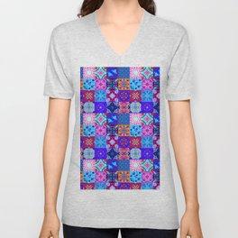Bohemian Jungle Quilt Tiles 2 Unisex V-Neck