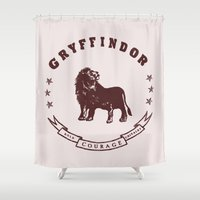 gryffindor Shower Curtains featuring Gryffindor House by Shelby Ticsay