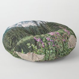 Mount Rainier Wildflower Adventure V - Pacific Northwest Mountain Forest Wanderlust Floor Pillow
