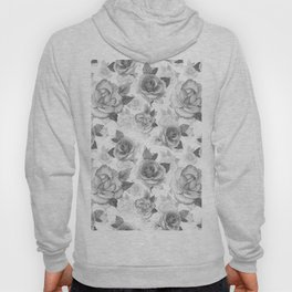 Hand painted black white watercolor roses floral pattern Hoody