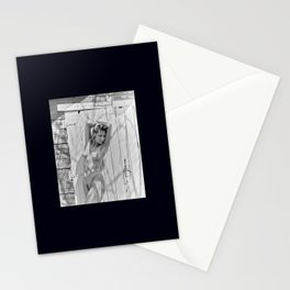 nude woman outside a barn in the midwest Stationery Cards