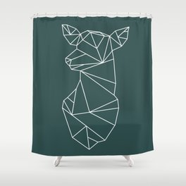 Geometric Doe (White on Slate) Shower Curtain