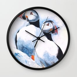 Puffins - I watch over you, little brother - by LiliFlore Wall Clock
