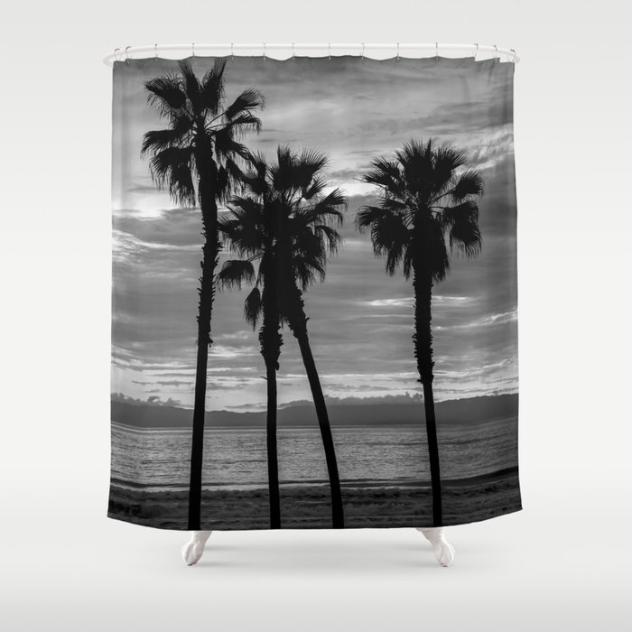 Sunset Though The Palms 1-13-19 (B&W) Shower Curtain