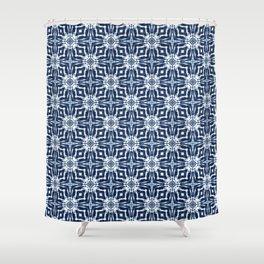 Watercolor Shibori Indigo Shower Curtain